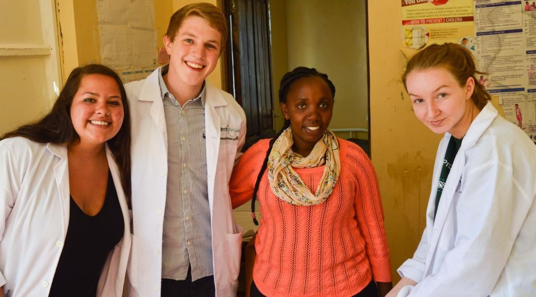 Medical interns from Projects Abroad can be seen posing with local nurses during their occupational therapy internship in Kenya.